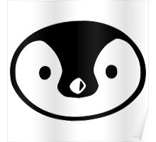 penguin cute face round character birds wild Poster