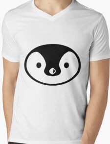 penguin cute face round character birds wild Mens V-Neck T-Shirt