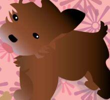 Cute Yorkie With Flowers Sticker