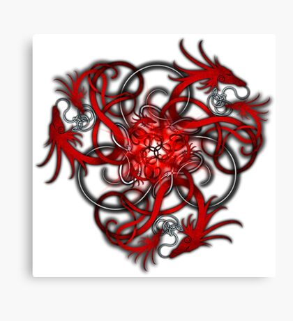 Red Norse Dragons Triskele Canvas Print
