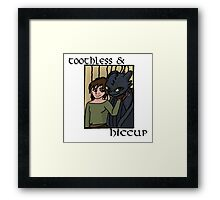 Toothless and Hiccup White  Framed Print