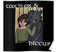 Hiccup and Toothless Black Poster