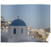 Santorini with Greek church Poster