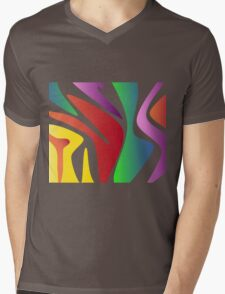 Wavy Rainbow Mens V-Neck T-Shirt