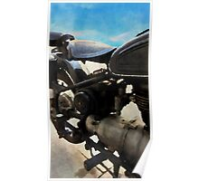 Vintage motorcycle watercolor painting Poster