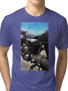 Vintage motorcycle watercolor painting Tri-blend T-Shirt