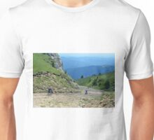 Natural background with mountains scenery and cloudy sky. Unisex T-Shirt