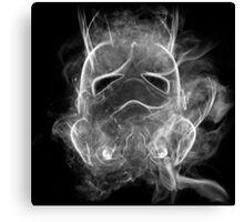Smoke Stormtrooper Helmet - Black & White Canvas Print