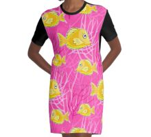Hot Pink Aquarium Graphic T-Shirt Dress