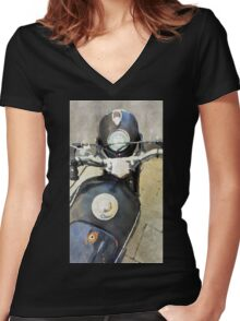 Vintage motorcycle watercolor painting Women's Fitted V-Neck T-Shirt