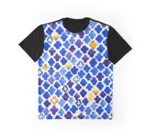 Rustic Watercolor Moroccan in Royal Blue & Gold Graphic T-Shirt