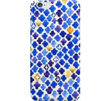 Rustic Watercolor Moroccan in Royal Blue & Gold iPhone Case/Skin