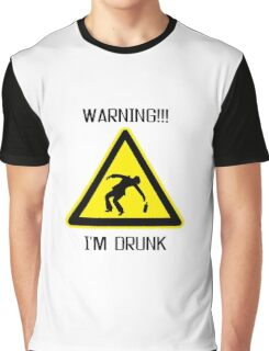 Drunk Warning Beer Funny T shirt Graphic T-Shirt
