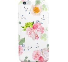 Small spring bouquets of rose, peony, camellia, orchid, carnation, hydrangea, blue berries and eucaliptis leaves iPhone Case/Skin