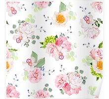 Small spring bouquets of rose, peony, camellia, orchid, carnation, hydrangea, blue berries and eucaliptis leaves Poster