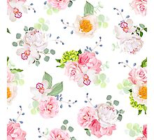 Small spring bouquets of rose, peony, camellia, orchid, carnation, hydrangea, blue berries and eucaliptis leaves Photographic Print