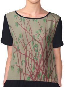 """Red twigs"", pastel drawing, nature art, green, red, tree branches Chiffon Top"