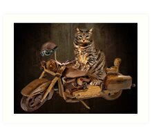 PURRING AND POSING - LONGING TO TAKE A RIDE-FELINE & MOTORCYCLE PICTURE Art Print