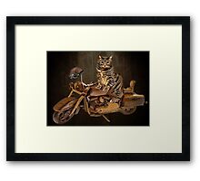 PURRING AND POSING - LONGING TO TAKE A RIDE-FELINE & MOTORCYCLE PICTURE Framed Print