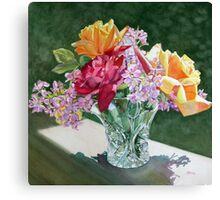 """Roses in Crystal, Circle"" Canvas Print"
