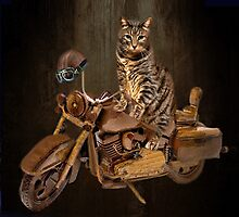 PURRING AND POSING - LONGING TO TAKE A RIDE-FELINE & MOTORCYCLE THROW PILLOW & TOTE BAG by ✿✿ Bonita ✿✿ ђєℓℓσ