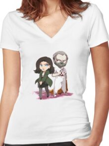 Chibi Hannibal and Clarice Women's Fitted V-Neck T-Shirt