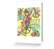 Mouse on Penny Farthing Greeting Card