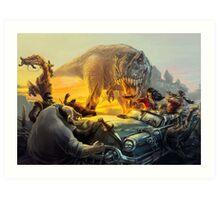 Cadillac & Dinosaurs Art Print