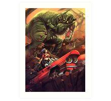 Cadillac Girl vs T-Rex Art Print