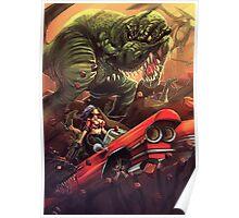 Cadillac Girl vs T-Rex Poster