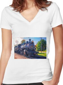 Chugging Along Women's Fitted V-Neck T-Shirt