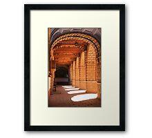 Sunlit arches in the Convent of La Merced, Cusco, Peru Framed Print