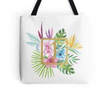 Tropical Floral With Gold Initial J Tote Bag