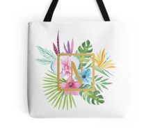 Tropical Floral With Gold Initial N Tote Bag