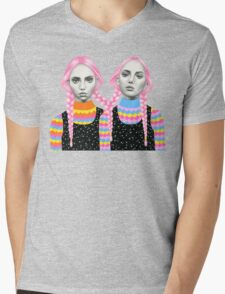 Plaited Twins Mens V-Neck T-Shirt