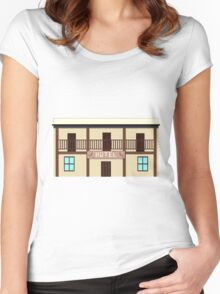 Wild West pixel Hotel Women's Fitted Scoop T-Shirt