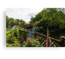 English Cottage Garden - a Blissful Space with a Riot of Flowers and a Bonus Squirrel Canvas Print
