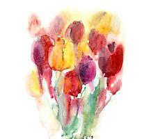 Spring watercolor tulips Photographic Print