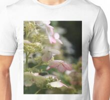 Pink and Green Hydrangea Flower Blossoms with Vintage French Script Unisex T-Shirt