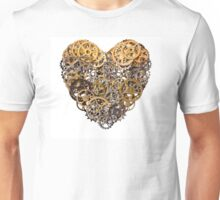 Heart shape made of metal pinions and sprockets Unisex T-Shirt