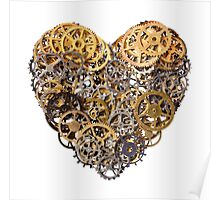 Heart shape made of metal pinions and sprockets Poster
