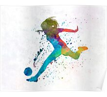 Woman soccer player 01 in watercolor Poster