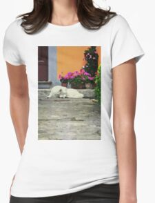 Watercolor with a dog Womens Fitted T-Shirt