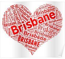 Brisbane - Red Heart Poster