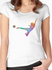 Woman soccer player 02 in watercolor Women's Fitted Scoop T-Shirt
