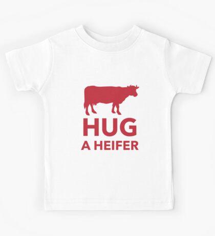 Hug a Heifer Funny Dairy Farm Kids Tee