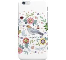 Beautiful bird in flowers iPhone Case/Skin