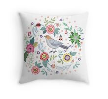 Beautiful bird in flowers Throw Pillow