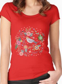 Beautiful bird in flowers Women's Fitted Scoop T-Shirt