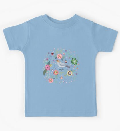 Beautiful bird in flowers Kids Tee